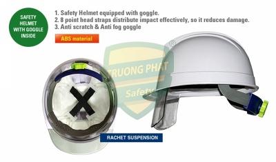 Mũ an toàn Hàn Quốc Kukje màu trắng có kính