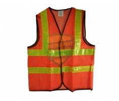 Áo lưới màu cam phản quang vàng chanh Mặt trước và mặt sau 2 kẻ ngang và 2 kẻ dọc