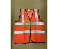 Áo lưới phản quang màu cam phản quang trắng chéo sau lưng